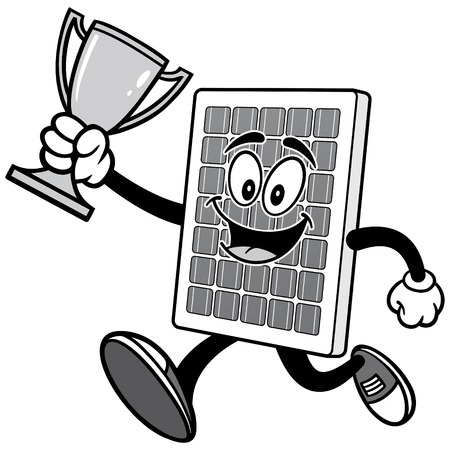 Solar Panel Running with Trophy Illustration