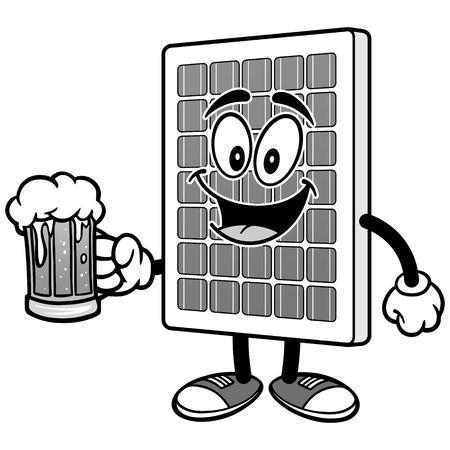 맥주 일러스트와 함께 태양 전지 패널 일러스트