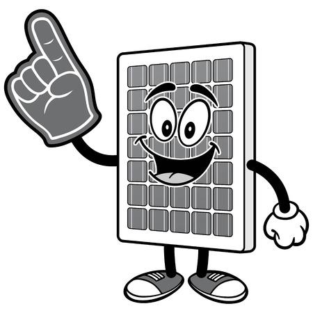 폼 손가락 그림과 태양 전지 패널 일러스트