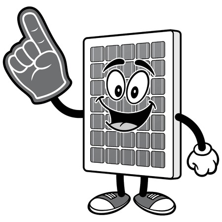 Solar Panel with Foam Finger Illustration Çizim