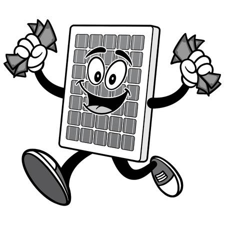 Solar Panel with Money Illustration Çizim