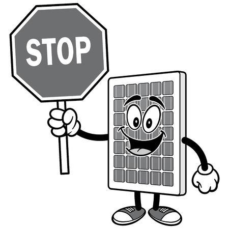 정지 신호 일러스트와 함께 태양 전지 패널 일러스트