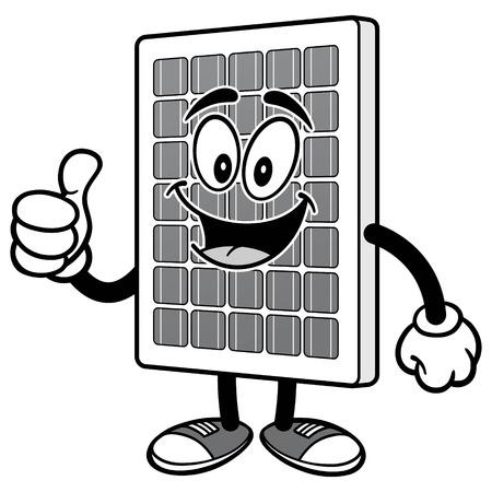 위로 엄지와 태양 전지 패널 일러스트 레이션