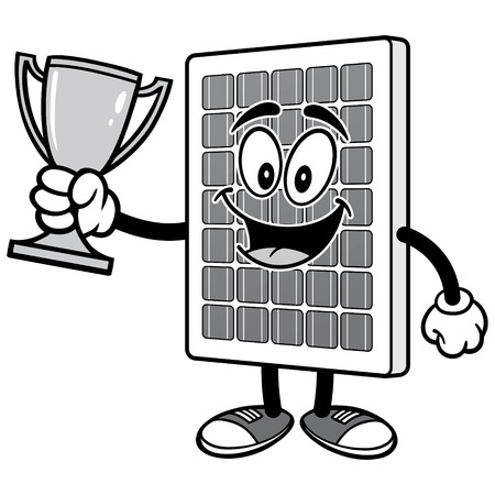 Solar Panel with Trophy Illustration
