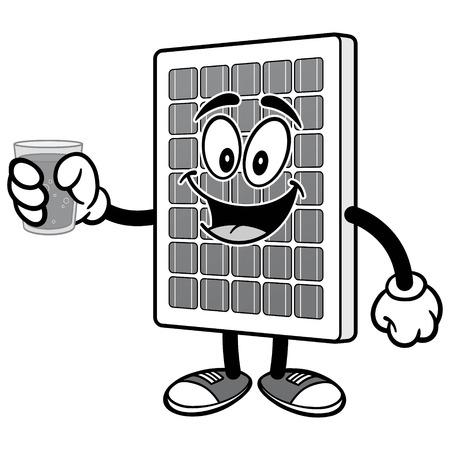 물 일러스트와 함께 태양 전지 패널