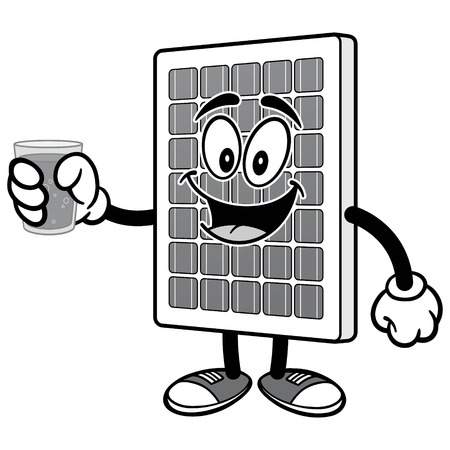 Solar Panel with Water Illustration