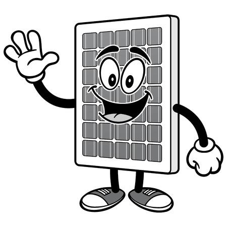 태양 전지 패널 흔들며 일러스트레이션 일러스트