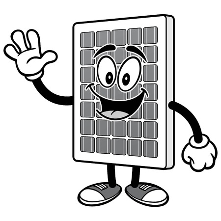 Solar Panel Waving Illustration
