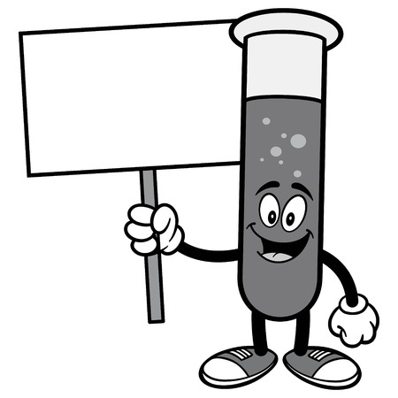 Test Tube with Stop Sign Illustration