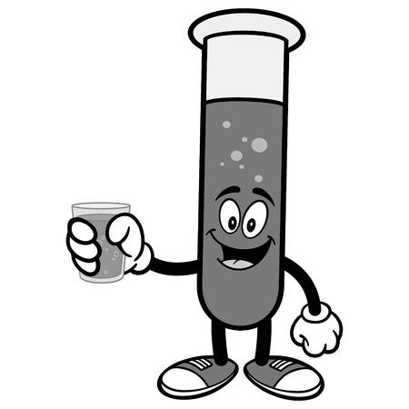 Testbuis met waterillustratie