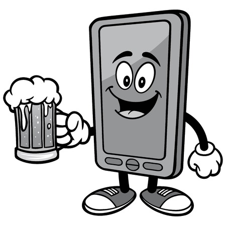 Smartphone with Beer Illustration