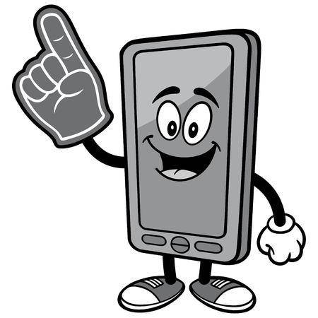 Smartphone with Foam Finger Illustration