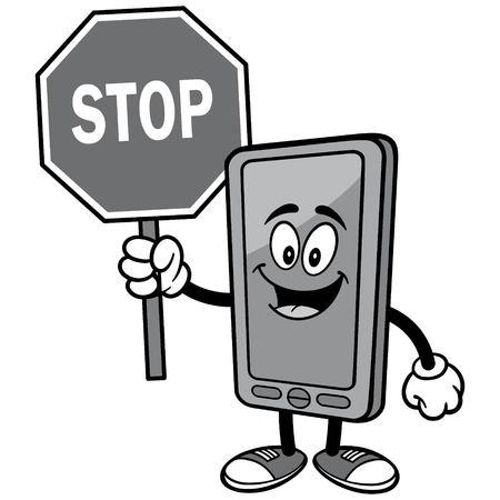 Smartphone with Stop Sign Illustration