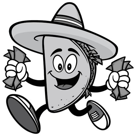 Taco with Money Illustration