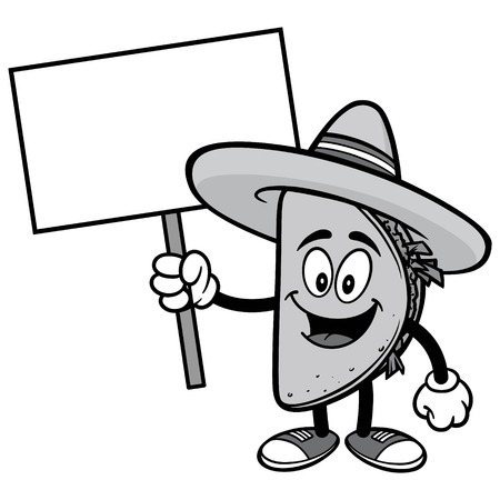Taco with Sign Illustration Illustration