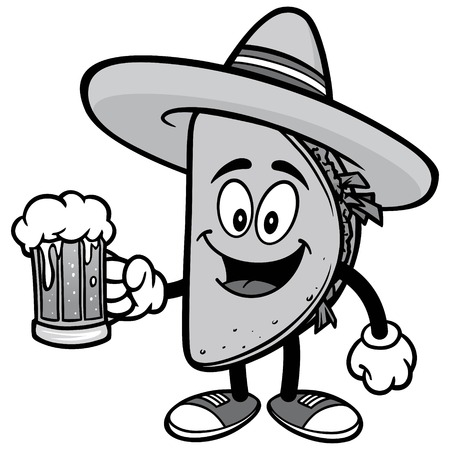 Taco with Beer Illustration