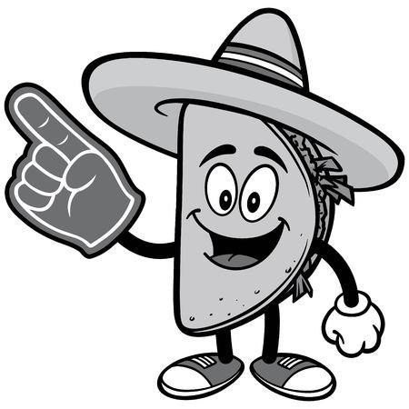 Taco with Foam Finger Illustration