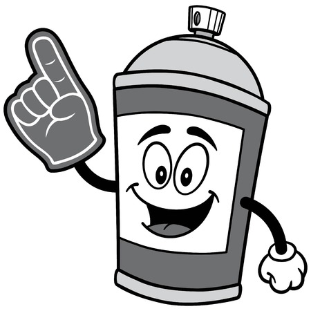 Spray Can with Foam Finger Illustration
