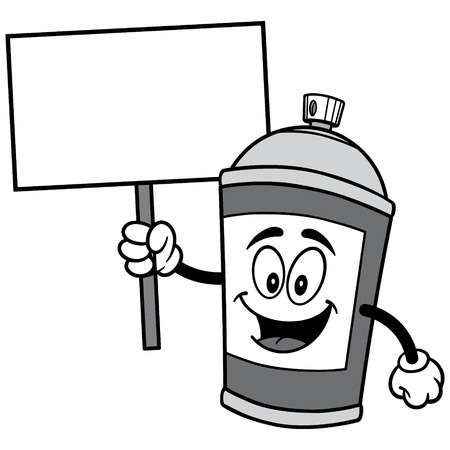 Spray Can with Sign Illustration