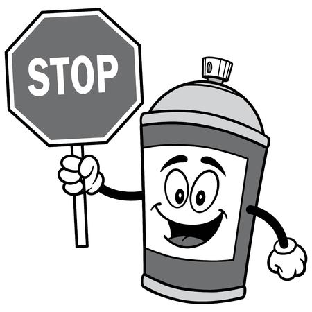 Spray Can with Stop Sign Illustration Ilustração