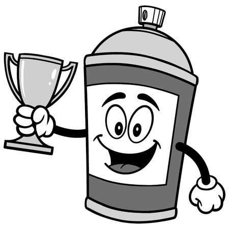 Spray Can with Trophy Illustration Illustration
