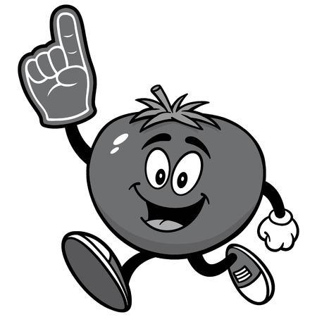 Tomato Running with Foam Finger Illustration Çizim