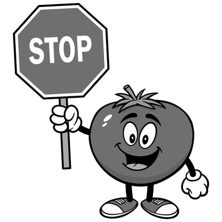 Tomato with Stop Sign Illustration
