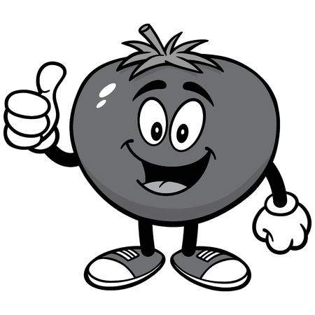 Tomato with Thumbs Up Illustration Illustration