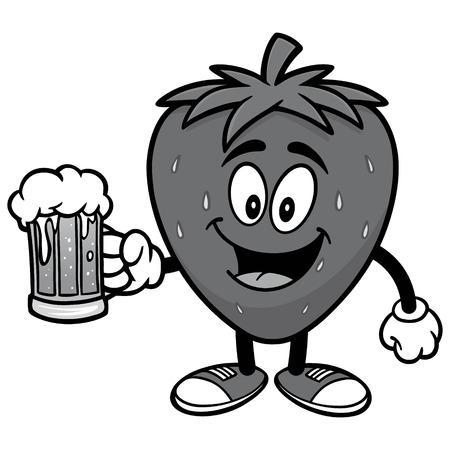 Aardbei met bierillustratie