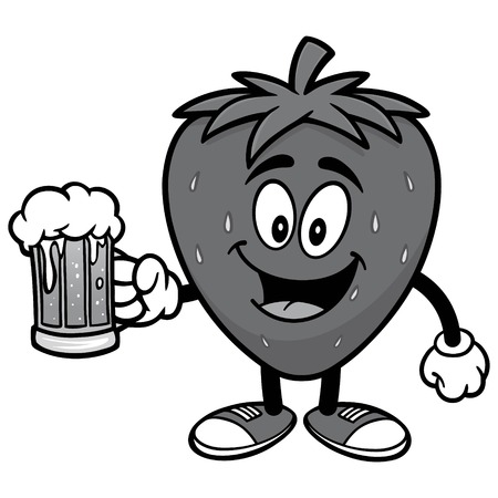 Strawberry with Beer Illustration