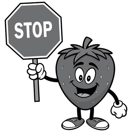 Aardbei met stopbord illustratie
