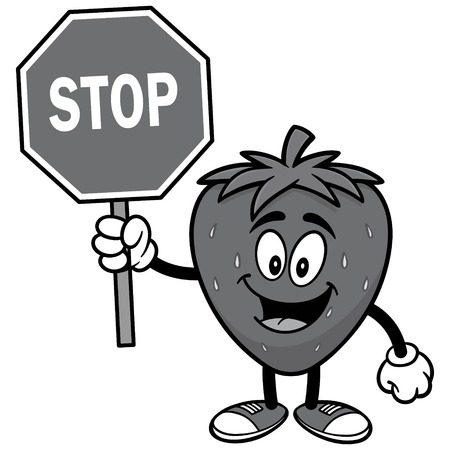 Strawberry with Stop Sign Illustration