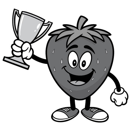 Strawberry with Trophy Illustration