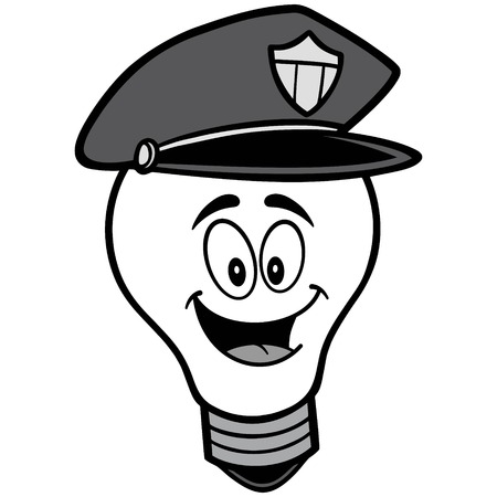 Police Bulb Mascot Illustration.
