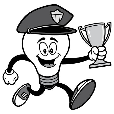 Police Bulb Running with Trophy Illustration.