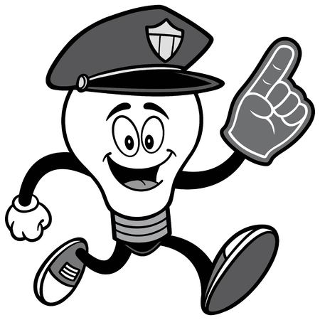 Police Bulb Running with Foam Finger Illustration.