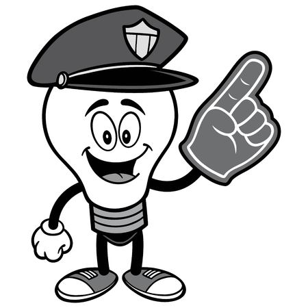 Police Bulb with Foam Finger Illustration. Ilustrace