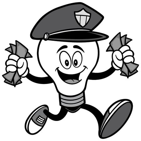 Police Bulb Running with Money Illustration.