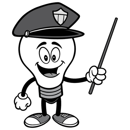 Police Bulb with Pointer Illustration.
