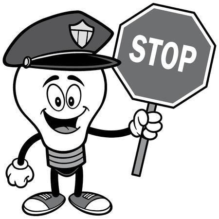 Police Bulb with Stop Sign Illustration. Ilustrace