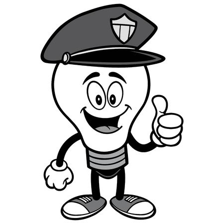 Police Bulb with Thumbs Up Illustration. Ilustrace