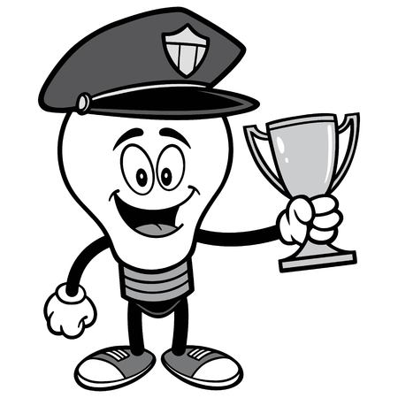 Police Bulb with Trophy Illustration.