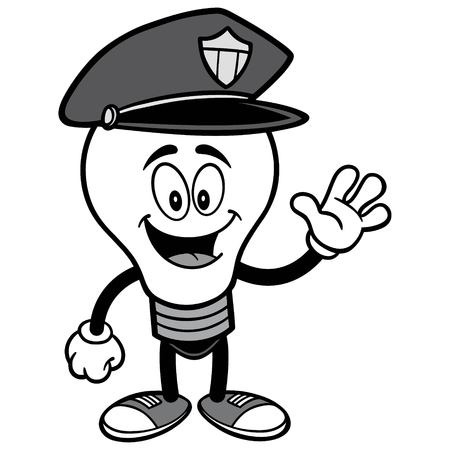 Police Bulb Waving Illustration.