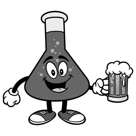 Chemische Fles Met Bier Illustratie