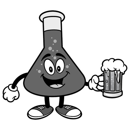 Chemistry Flask with Beer Illustration