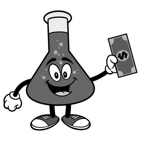 Chemistry Flask with Dollar Illustration Иллюстрация