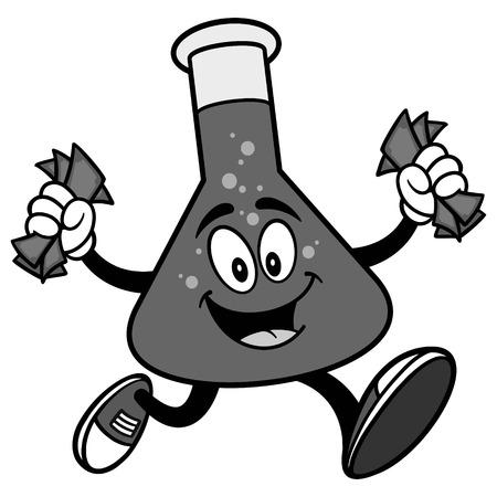 Chemistry Flask Running with Money Illustration