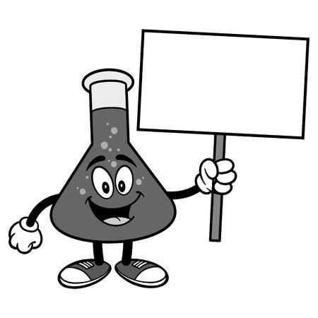 Chemische Fles Met Teken Illustratie