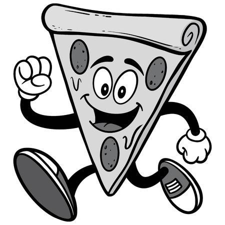 Pizza Running Illustration