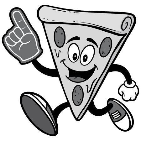 Pizza läuft mit Schaum Finger Illustration Standard-Bild - 85869996